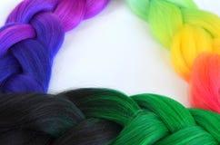 Kanekalon Filamentos artificiales coloreados del pelo Material para las trenzas de trenzado imagen de archivo libre de regalías