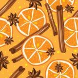Kanel och apelsiner, vektor, kökbakgrund Royaltyfri Bild