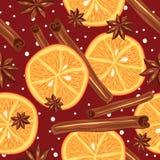Kanel och apelsiner, vektor, kökbakgrund Arkivfoto