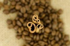 Kanel och coffe Arkivfoto