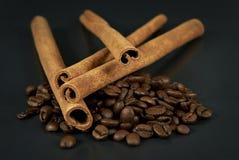 Kanel- och kaffebönor Arkivfoto