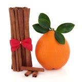Kanelbrun krydda och orange frukt Royaltyfria Foton