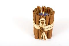 kanelbruna closeupsticks för stearinljus Fotografering för Bildbyråer