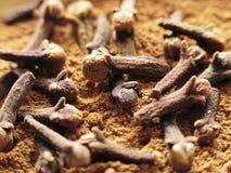 kanelbruna kryddnejlikor arkivbilder