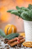 Kanelbruna pinnar och den orange slicesChristmasordningen med norrman sörjer Nobilis och som dekorerar med leksaker girland arkivbilder