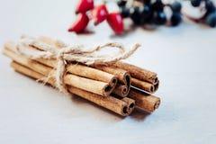 Kanelbruna pinnar som binds av repet på en ljus bakgrund arkivbilder