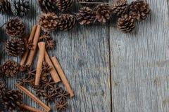 Kanelbruna pinnar, stjärnaanis och sörjer kottar på lantligt trä Arkivfoto