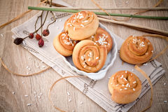 Kanelbullar - Suédois typique de bonbon Photo stock