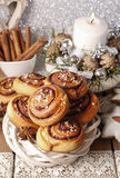 Kanelbulle - swedish cinnamon rolls in christmas setting Royalty Free Stock Image
