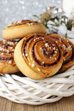 Kanelbulle - swedish cinnamon rolls in christmas setting Royalty Free Stock Images