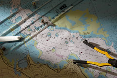 Kaneohe Bay Chart. A navigational chart and plotting tools Stock Photo