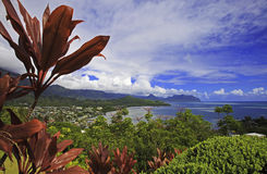 Kaneohe bay, oahu, hawaii. View from the hillside of kaneohe bay on the island of oahu, hawaii Stock Image