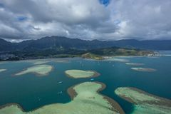 Kaneohe Bay, Oahu, Hawaii. This is an aerial view of beautiful Kaneohe Bay on the island of Oahu in Hawaii royalty free stock photo