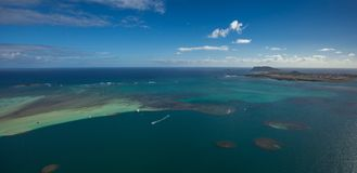 Kaneohe Bay, Oahu, Hawaii. This is an aerial view of beautiful Kaneohe Bay on the island of Oahu in Hawaii stock image