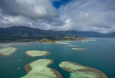 Kaneohe Bay, Sandbar,Oahu, Hawaii. This is an aerial view of beautiful Kaneohe Bay on the island of Oahu in Hawaii royalty free stock images