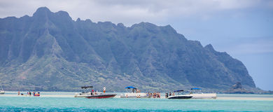 Kaneohe Bay sandbar. Sailboat by the sandbar in Kaneohe Bay, Hawaii. Photo taken on 4 July 2013, Oahu Stock Image