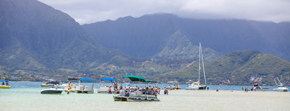 Kaneohe Bay sandbar. Sailboats by the sandbar in Kaneohe Bay, Hawaii. Photo taken on 4 July 2013, Oahu Stock Photos
