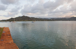 Kaneohe Marine Corps Base Marina. View from the Kaneohe Marine Corps Base Marina, Kaneohe, Oahu, Hawaii Stock Images