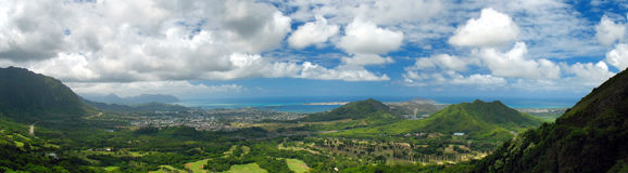 Kaneohe Panorama. Kaneohe Bay and Windward Oahu from Nuuanu Pali Lookout, Honolulu HI Stock Photo