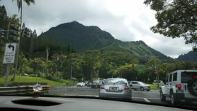 Kaneohe. Relaxing and stressful traffic and beauty Royalty Free Stock Photography