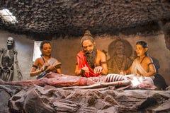 KANERI算术,戈尔哈布尔,马哈拉施特拉,印度,雕塑4月2017年,显示古老印地安医疗哲学, sushruta samhita 免版税库存照片
