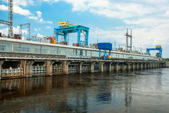Kanev HPP, the Dnieper River, Ukraine. A row of spillway gates on the Kanev hydroelectric power plant, the Dnieper River, Ukraine Stock Photography
