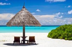 kanfas chairs ett slags solskydd arkivfoto