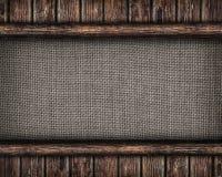 Kanfas som inramas av gamla träplankor Royaltyfria Bilder