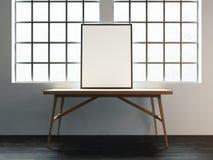 Kanfasmodell på tabellen nära fönstret i den vita vinden 3d ren Arkivbild