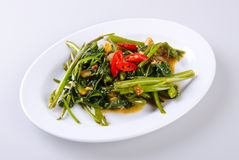 Kang kong. Stir Fried Water Spinach with Belacan. Asia food royalty free stock photo