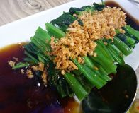 Kang kong. Stir Fried Water Spinach royalty free stock images