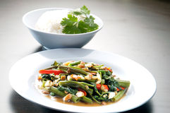 Kang kong. Stir Fried Water Spinach and rice Royalty Free Stock Images