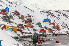 Kangaamiut village in the middle of nowhere Royalty Free Stock Images