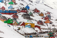 Kangamiut colorful village and port in the middle of nowhere. Greenland royalty free stock image