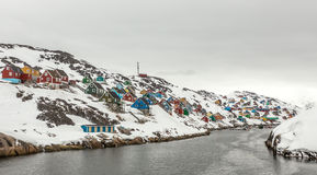 Kangamiut panorama - arktyczna wioska po środku nigdzie Fotografia Stock