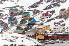 Kangamiut view from water - arctic village in the middle of nowh Royalty Free Stock Image