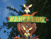 Kangaroo advertisement in fun park Royalty Free Stock Photos