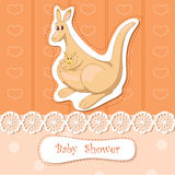Kangaroo. Amusing kangaroo with little cub in bag royalty free illustration