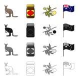 Kangaroo, apple sauce chutney, Australian acacia,wattle, national flag. Australia set collection icons in cartoon black Stock Photo