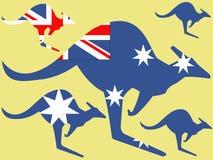 Kangaroo and australian flag Royalty Free Stock Images