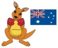 Kangaroo and Australian symbols Royalty Free Stock Photo