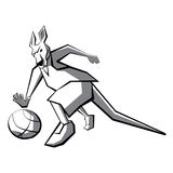 Kangaroo basketball player. Clipart, logo, line silhouette, vector. Good for logo or emblem. White background