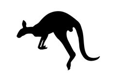 Kangaroo black silhouette Royalty Free Stock Photo