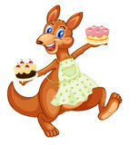 Kangaroo with cakes Stock Photography