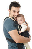 Kangaroo carrier dad. Royalty Free Stock Photography