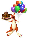 Kangaroo cartoon character  with cake  and baloon Royalty Free Stock Photography