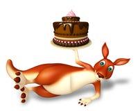 Kangaroo cartoon character  with cake Stock Photo