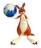 Kangaroo cartoon character with earth sign Stock Photography