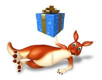 Kangaroo cartoon character with giftbox Royalty Free Stock Image