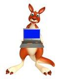 Kangaroo cartoon character with laptop Royalty Free Stock Images